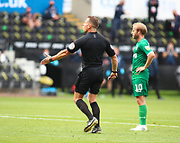 5th July 2020; Liberty Stadium, Swansea, Glamorgan, Wales; English Football League Championship, Swansea City versus Sheffield Wednesday; Referee Stephen Martin awards Swansea City a penalty in the second half after Connor Roberts of Swansea City was pulled down inside the box
