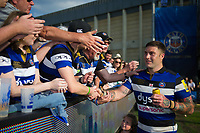 Matt Banahan of Bath Rugby mingles with supporters after his final game for the club. Aviva Premiership match, between Bath Rugby and London Irish on May 5, 2018 at the Recreation Ground in Bath, England. Photo by: Patrick Khachfe / Onside Images