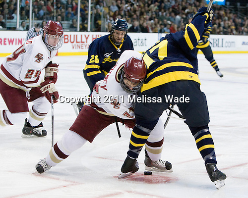 Bill Arnold (BC - 24), Jeff Velleca (Merrimack - 28), Steven Whitney (BC - 21), Shawn Bates (Merrimack - 17) - The Boston College Eagles defeated the Merrimack College Warriors 5-3 to win the Hockey East championship for the tenth time on Saturday, March 19, 2011, at TD Garden in Boston, Massachusetts.