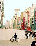 CHINA, Shanghai, crowd of people on urban shopping street
