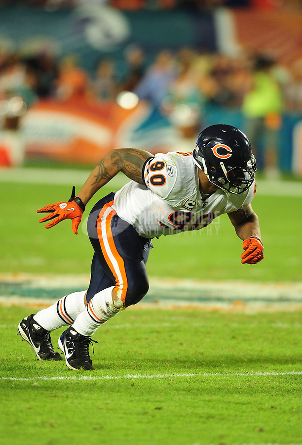Nov. 18, 2010;  Miami, FL, USA; Chicago Bears defensive end Julius Peppers against the Miami Dolphins at Sun Life Stadium. The Bears defeated the Dolphins 16-0. Mandatory Credit: Mark J. Rebilas-