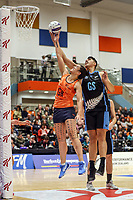 NZ Men's Junior Levi and All Stars Sulu Fitzpatrick go after the ball during the Cadbury Netball Series match between NZ Men and All Stars at the Bruce Pullman Arena in Papakura, New Zealand on Friday, 28 June 2019. Photo: Dave Lintott / lintottphoto.co.nz