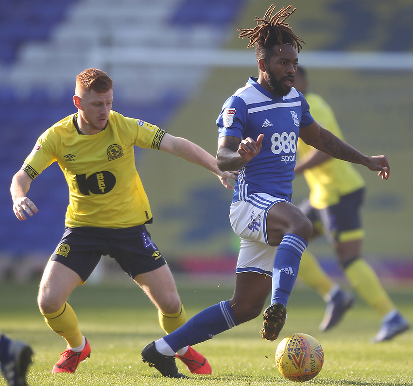 Blackburn Rovers Harrison Reed battles with  Birmingham City's Jacques Maghoma<br /> <br /> Photographer Mick Walker/CameraSport<br /> <br /> The EFL Sky Bet Championship - Birmingham City v Blackburn Rovers - Saturday 23rd February 2019 - St Andrew's - Birmingham<br /> <br /> World Copyright © 2019 CameraSport. All rights reserved. 43 Linden Ave. Countesthorpe. Leicester. England. LE8 5PG - Tel: +44 (0) 116 277 4147 - admin@camerasport.com - www.camerasport.com
