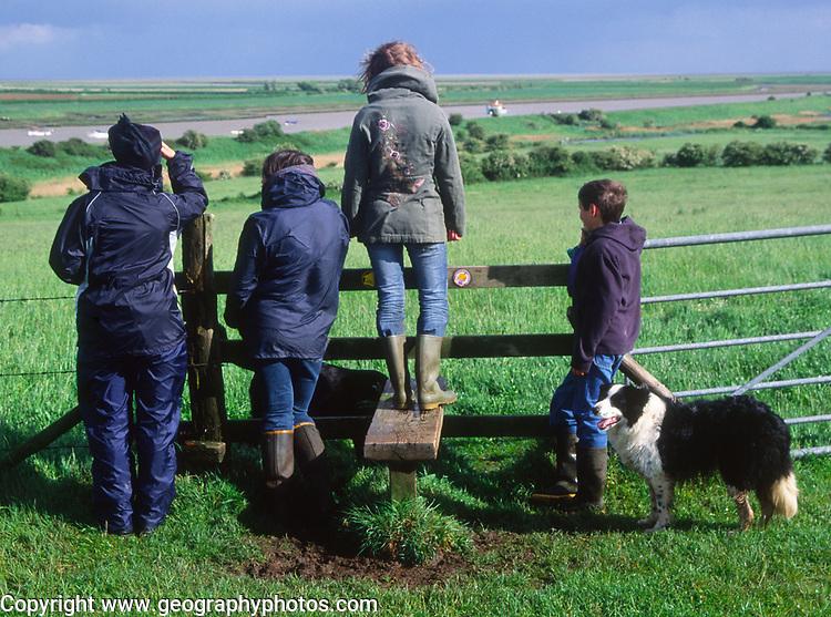 AREJHF Two female friends, children and collie dog, Burrow Hill, Boyton, Suffolk, England