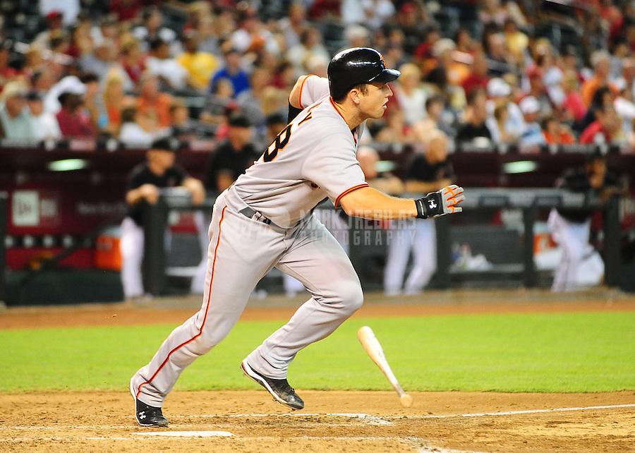 Jul. 24, 2010; Phoenix, AZ, USA; San Francisco Giants catcher Buster Posey against the Arizona Diamondbacks at Chase Field. Mandatory Credit: Mark J. Rebilas-