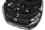 Car stock 2017 Dacia Lodgy Stepway 5 Door Mini Van engine high angle detail view