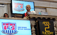 U.S. Soccer president Sunil Gulati poses for a photo before ringing the closing bell. during the centennial celebration of U. S. Soccer at the New York Stock Exchange in New York, NY, on April 02, 2013.