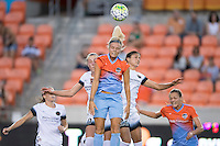 Houston, TX - Saturday July 16, 2016: McKenzie Berryhill, Rachel Daly, Jennifer Skogerboe during a regular season National Women's Soccer League (NWSL) match between the Houston Dash and the Portland Thorns FC at BBVA Compass Stadium.
