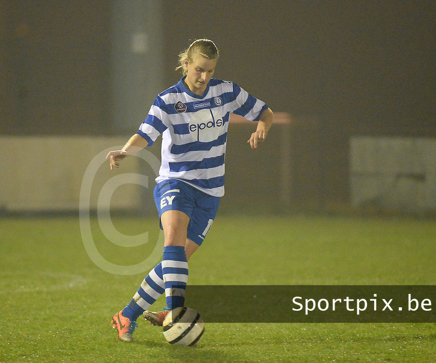 20140326 - AALTER , BELGIUM : Gent's Maaike Trommelmans pictured during the soccer match between the women teams of Club Brugge Vrouwen  and AA Gent  Ladies , on the 21th matchday of the BeNeleague competition Friday 14 March 2014 in Aalter. PHOTO DAVID CATRY