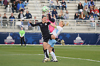 Chicago Red Stars goalkeeper Caroline Jonsson (1) goes up to defend the play against Washington Freedom forward Lisa De Vanna (17)  Washington Freedom tied Chicago Red Stars 1-1  at The Maryland SoccerPlex, Saturday April 11, 2009.