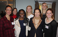 NWA Democrat-Gazette/CARIN SCHOPPMEYER Samantha Snider (from left), Becky Alexander, Hailey Garner, Sarah Shaffer, Marilyn Bogle, Keiryn Swenson and Loren Krzyko gather at the Razorback Foundation endowed scholarship luncheon on Dec. 9 at Carnall Hall in Fayetteville.