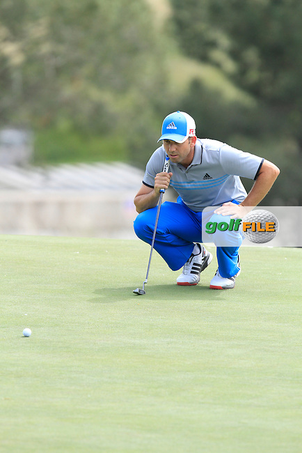 Sergio Garcia (ESP) on the 10th green during Round 1 of the Open de Espana  in Club de Golf el Prat, Barcelona on Thursday 14th May 2015.<br /> Picture:  Thos Caffrey / www.golffile.ie