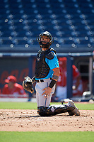 Miami Marlins catcher Will Banfield (26) during an Instructional League game against the Washington Nationals on September 26, 2019 at FITTEAM Ballpark of The Palm Beaches in Palm Beach, Florida.  (Mike Janes/Four Seam Images)