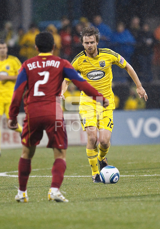 24 APRIL 2010:  Real Salt Lakes' Tony Beltran (2) and Eddie Gaven of the Columbus Crew (12)  and during the Real Salt Lake at Columbus Crew MLS soccer game in Columbus, Ohio. Columbus Crew defeated RSL 1-0 on April 24, 2010.