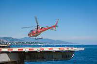 Principality of Monaco, on the French Riviera (Côte d'Azur): Heliport de Monaco, just 10 minutes to Nice Airport, fast and convenient | Fuerstentum Monaco, an der Côte d'Azur: Heliport de Monaco, in 10 minuten zum Flughafen Nizza, bequemer und schneller geht's nicht
