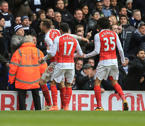 05.03.2016. White Hart Lane, London, England. Barclays Premier League. Tottenham Hotspur versus Arsenal. Aaron Ramsey of Arsenal celebrates his goal with Arsenals first shot of the game.