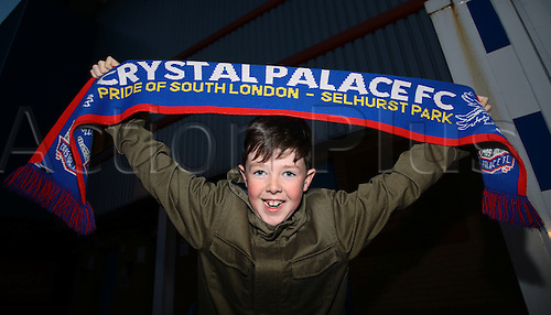 11.03.2016. Madejeski Stadium, Reading, England. Emirates FA Cup 6th Round. Reading versus Crystal Palace. An excited Crystal Palace fans arrives at The Madejski Stadium