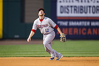 Buffalo Bisons third baseman Jared Goedert (12) tracks a pop fly during the game against the Charlotte Knights at BB&T Ballpark on May 9, 2014 in Charlotte, North Carolina.  The Knights defeated the Bisons 5-3.  (Brian Westerholt/Four Seam Images)