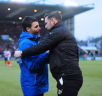 Lincoln City manager Danny Cowley, left, shakes hands with Notts County manager Kevin Nolan before the game<br /> <br /> Photographer Chris Vaughan/CameraSport<br /> <br /> The EFL Sky Bet League Two - Lincoln City v Notts County - Saturday 13th January 2018 - Sincil Bank - Lincoln<br /> <br /> World Copyright &copy; 2018 CameraSport. All rights reserved. 43 Linden Ave. Countesthorpe. Leicester. England. LE8 5PG - Tel: +44 (0) 116 277 4147 - admin@camerasport.com - www.camerasport.com