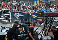 Jul 20, 2018; Morrison, CO, USA; NHRA fans watch from the crowd during qualifying for the Mile High Nationals at Bandimere Speedway. Mandatory Credit: Mark J. Rebilas-USA TODAY Sports