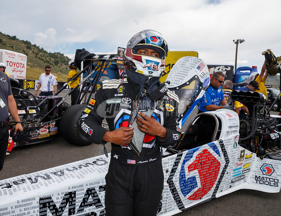 Jul 23, 2017; Morrison, CO, USA; NHRA top fuel driver Antron Brown during the Mile High Nationals at Bandimere Speedway. Mandatory Credit: Mark J. Rebilas-USA TODAY Sports