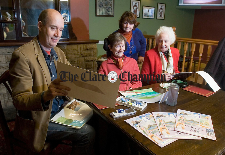 John Mullins, Eileen Malone, Mary Maxwell and Mary Cleary , artists,  at the launch of the Ennis branch Irish Wheelchair Association Calendar 2008 at Ballyline. Photograph by John Kelly.
