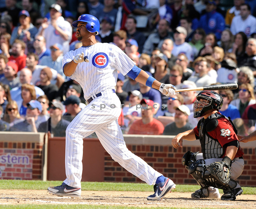 DERREK LEE, of the Chicago Cubs , in action during the Cubs  game against the Houston Astros at Wrigley Field in Chicago, Illinois  on April 16, 2010...The Cubs win 7-2