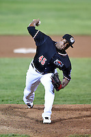 Erie SeaWolves pitcher Jose Valdez (45) delivers a pitch during a game against the Akron RubberDucks on May 17, 2014 at Jerry Uht Park in Erie, Pennsylvania.  Erie defeated Akron 2-1.  (Mike Janes/Four Seam Images)