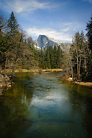 Spring color and a view of Half Dome over the Merced River on a late April day
