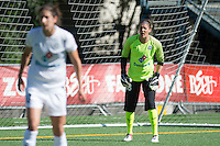 Seattle, WA - Sunday, May 1, 2016: FC Kansas City goalkeeper Nicole Barnhart (18) directs her defenders during the first half of a National Women's Soccer League (NWSL) match at Memorial Stadium.