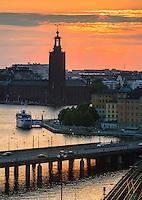 Stadshuset i solnedgång Stockholm Sweden