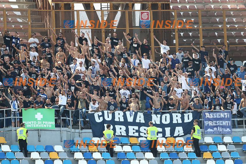 Brescia supporters cheer on<br /> Napoli 29-9-2019 Stadio San Paolo <br /> Football Serie A 2019/2020 <br /> SSC Napoli - Brescia FC<br /> Photo Cesare Purini / Insidefoto