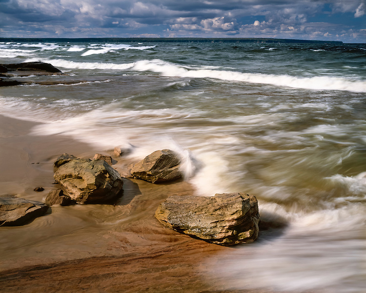 Stormy weather on the shore of Lake Superior at Miners Beach; Pictured Rocks National Lakeshore, MI