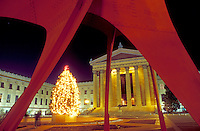 art museum, Philadelphia, Pennsylvania, PA, Red Calder sculpture and Christmas tree illuminated at night outside the Philadelphia Museum of Art in downtown Philadelphia.