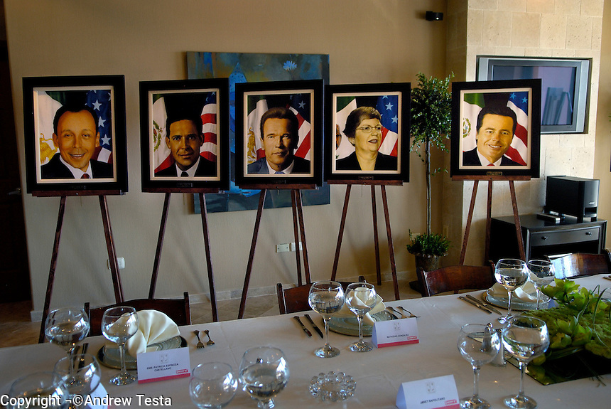 Mexico. Puerto Penasco.27th September 2007.Portraits of Governors Jose Reyes, Eugenio Hernandez, Arnold Shwarzernegger, Janet Napolitano and Eduardo Bours at a private lunch for the Governors..©Andrew Testa/Panos for Newsweek