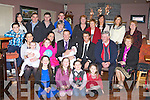 PINK BABY: Proud parents Lorraine O'Connor and Mike Murphy (seated 2nd & 3rd left), Ballymac of little Leah who was Christening by Fr Pat Crean-Lynch at St Brendan's Church, Clogher and celebrated afterwards with family and friends at O'Riada's restaurant and bar, Ballymac on Saturday.