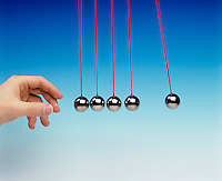 NEWTON TOY PENDULA: COLLISION EXPERIMENT<br /> Newton's Third Law<br /> (5 of 8 - Variations Available)<br /> Conservation of Momentum<br /> One pendula bob used as a projectile collides with four other pendula bobs displacing one pendula bob equal to the original displacement of the projectile bob.
