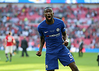 19th May 2018, Wembley Stadium, London, England; FA Cup Final football, Chelsea versus Manchester United; Antonio Rudiger of Chelsea celebrates towards the photographers lens after the final whistle as they win 1-0