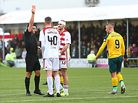 2nd February 2020; New Douglas Park, Hamilton, South Lanarkshire, Scotland; Scottish Premiership, Hamilton Academical versus Celtic;  Jamie Hamilton of Hamilton Academical is given a straight red card in the 34th minute for the pull down of Leigh Griffiths