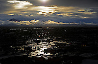 rain sun water Phoenix Arizona weather storm chaser chasing city urban road silhouette sunset clouds sun