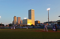 General view of Midland RockHounds outfielder Josh Whitaker (26) at bat with the skyline during a game against the Tulsa Drillers on June 2, 2015 at Oneok Field in Tulsa, Oklahoma.  Midland defeated Tulsa 6-5.  (Mike Janes/Four Seam Images)