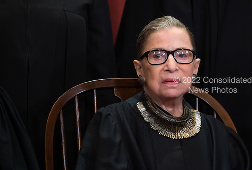 Associate Justice of the Supreme Court Ruth Bader Ginsburg poses during the official Supreme Court group portrait at the Supreme Court on November 30, 2018 in Washington, D.C. <br /> Credit: Kevin Dietsch / Pool via CNP