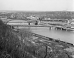 Pittsburgh PA: View of Pittsburgh point bridges from Mt Washington - 1962.  View includes the new Fort Pitt bridge, along with Point, Manchester and Fort Duquesne Bridges.