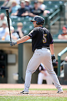 Louisville Bats first baseman Eric Eymann #5 at bat during a game against the Rochester Red Wings at Frontier Field on May 12, 2011 in Rochester, New York.  Louisville defeated Rochester 5-2.  Photo By Mike Janes/Four Seam Images