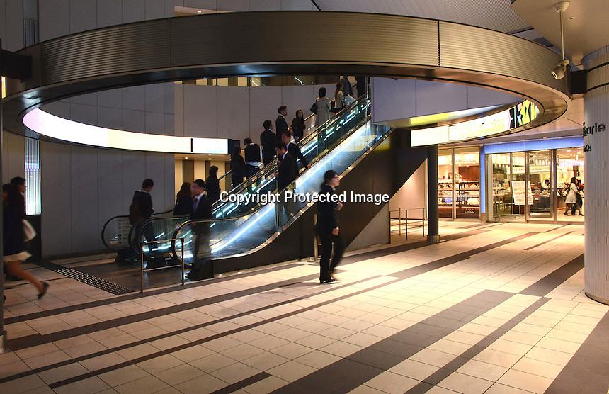 Entrance to  Shibuya underground station beneath Shibuya Hikarie, a new skyscraper in the Shibuya district of Central Tokyo, Japan.<br /> Apr-2014