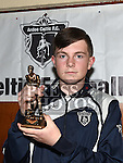 Ardee Celtic Under 16 player of the year Alan McAuley at the Ardee Celtic annual awards night in Ardee parish centre. Photo:Colin Bell/pressphotos.ie