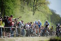 Tim De Troyer (BEL/Wanty-GroupeGobert) leading the breakaway group (thus the race) through the Trouée d'Arenberg / Bois de Wallers<br /> <br /> Paris-Roubaix 2014
