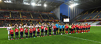 20191102 - LENS , FRANCE : both teams pictured during the team line ups before the female soccer match between Arras Feminin and Lille OSC feminin, on the 8th matchday in the French Women's Ligue 2 – D2 at the Stade Bollaert Delelis stadium , Lens . Saturday 2 November 2019 PHOTO DAVID CATRY | SPORTPIX.BE