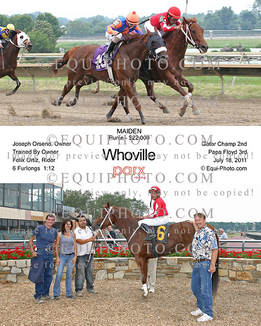 A. U. Miner #5 with Calvin Borel riding won the $200,000 Greenwood Cup, part of the Breeders' Cup Challenge,  at Parx Racing in Bensalem, Pennsylvania July 16, 2011.  Photo By Ryan Denver/EQUI-PHOTO