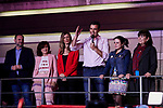Spanish Prime Minister Pedro and Socialist Party (PSOE) candidate for prime minister Pedro Sanchez (3R) delivers a speech beside his wife Begona Gomez and other PSOE leaders Jose Luis Abalos (1L) and Carmen Calvo (2L) during an election night rally in Madrid after Spain held general elections. - Spain's socialist prime minister won snap elections on Sunday but without the necessary majority to govern in a fragmented political landscape marked by the far-right's dramatic eruption in parliament. April 28, 2019.April 28, 2019. (ALTERPHOTOS/A. Perez Meca)
